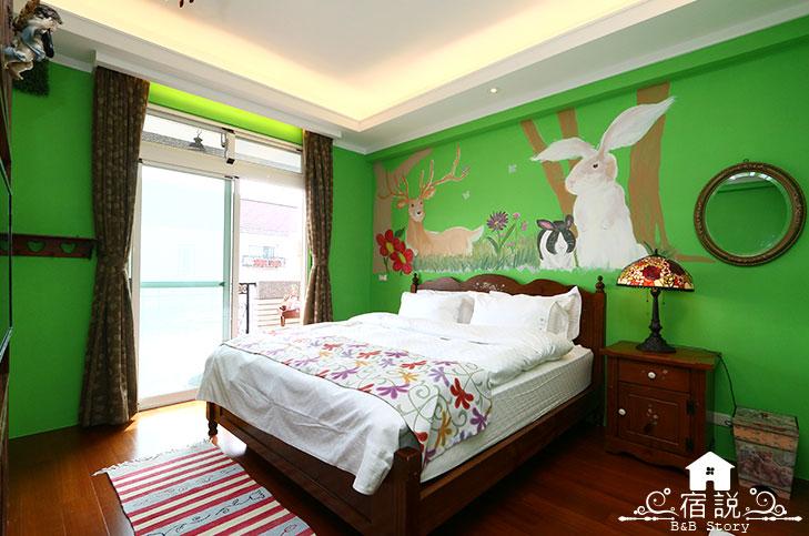 欧式绿色墙纸 卧室